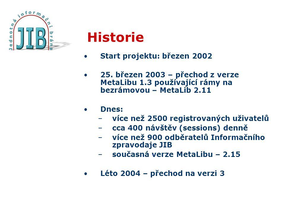 Historie Start projektu: březen 2002 25.