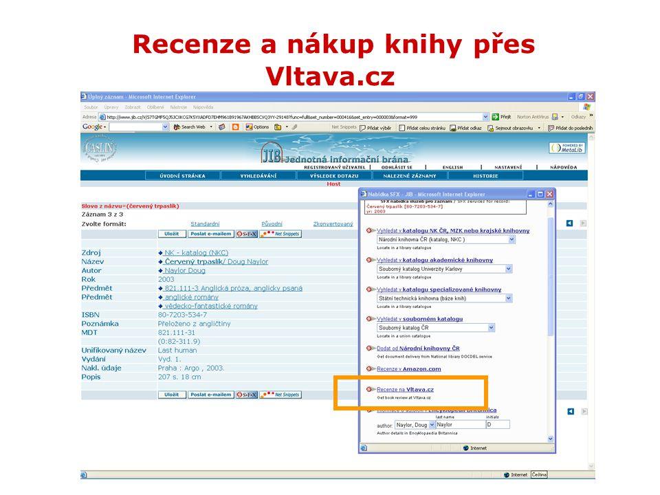 Recenze a nákup knihy přes Vltava.cz