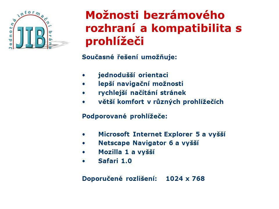 Možnosti bezrámového rozhraní a kompatibilita s prohlížeči Současné řešení umožňuje: jednodušší orientaci lepší navigační možnosti rychlejší načítání stránek větší komfort v různých prohlížečích Podporované prohlížeče: Microsoft Internet Explorer 5 a vyšší Netscape Navigator 6 a vyšší Mozilla 1 a vyšší Safari 1.0 Doporučené rozlišení: 1024 x 768
