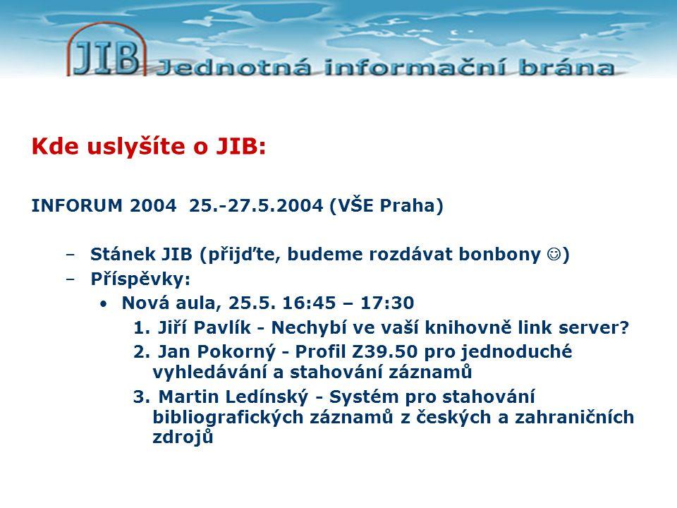 Kde uslyšíte o JIB: INFORUM 2004 25.-27.5.2004 (VŠE Praha) –Stánek JIB (přijďte, budeme rozdávat bonbony ) –Příspěvky: Nová aula, 25.5.