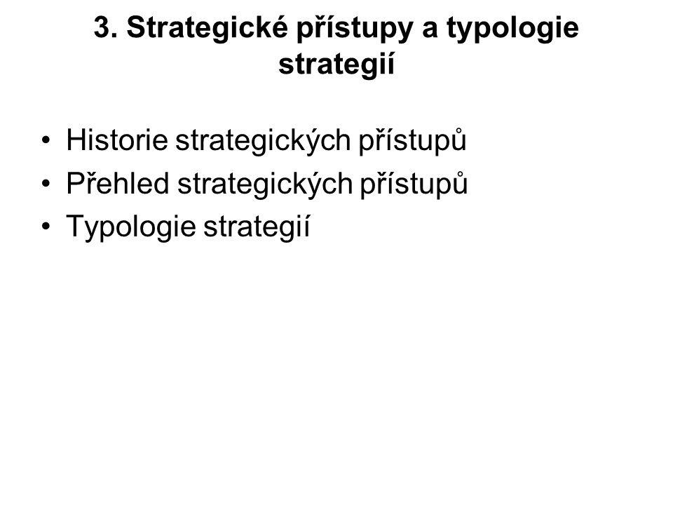 3. Strategické přístupy a typologie strategií Historie strategických přístupů Přehled strategických přístupů Typologie strategií