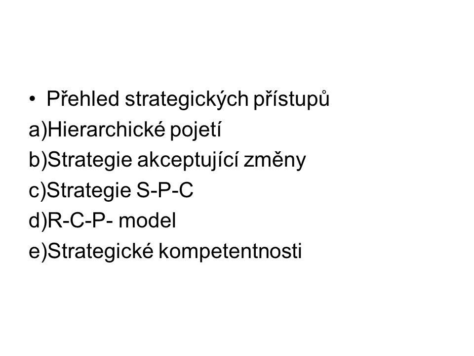 a)Hierarchické pojetí: Mise …. Cíle ….Strategie….Taktiky