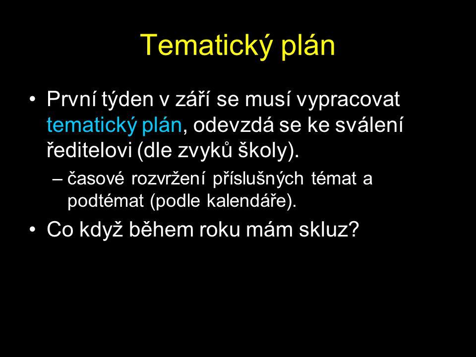 Tematický plán První týden v září se musí vypracovat tematický plán, odevzdá se ke sválení ředitelovi (dle zvyků školy).