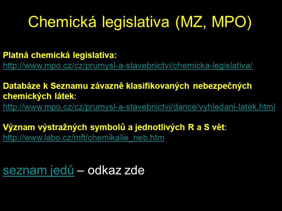 Chemická legislativa (MZ, MPO) seznam jedůseznam jedů – odkaz zde Platná chemická legislativa: http://www.mpo.cz/cz/prumysl-a-stavebnictvi/chemicka-legislativa/ Databáze k Seznamu závazně klasifikovaných nebezpečných chemických látek: http://www.mpo.cz/cz/prumysl-a-stavebnictvi/dance/vyhledani-latek.html Význam výstražných symbolů a jednotlivých R a S vět: http://www.labo.cz/mft/chemikalie_neb.htm