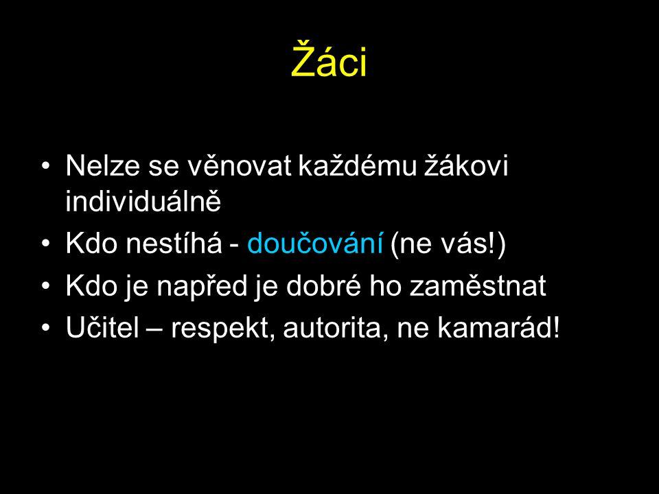 Žáci Nelze se věnovat každému žákovi individuálně Kdo nestíhá - doučování (ne vás!) Kdo je napřed je dobré ho zaměstnat Učitel – respekt, autorita, ne kamarád!
