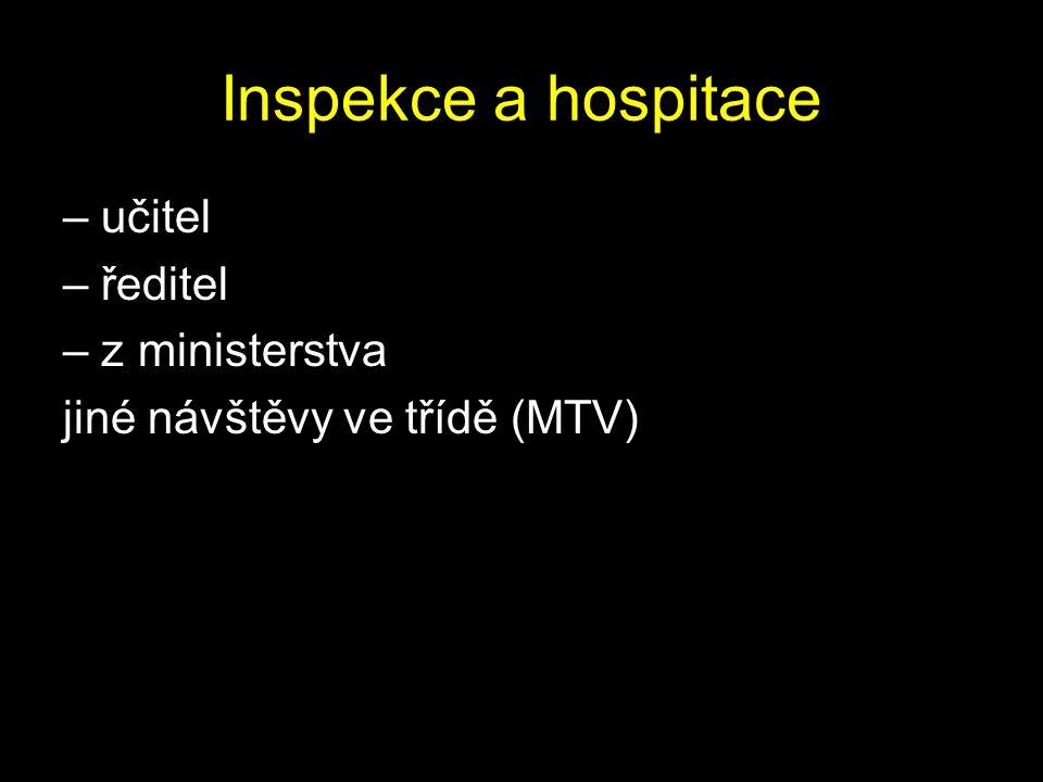 Inspekce a hospitace – učitel – ředitel – z ministerstva jiné návštěvy ve třídě (MTV)