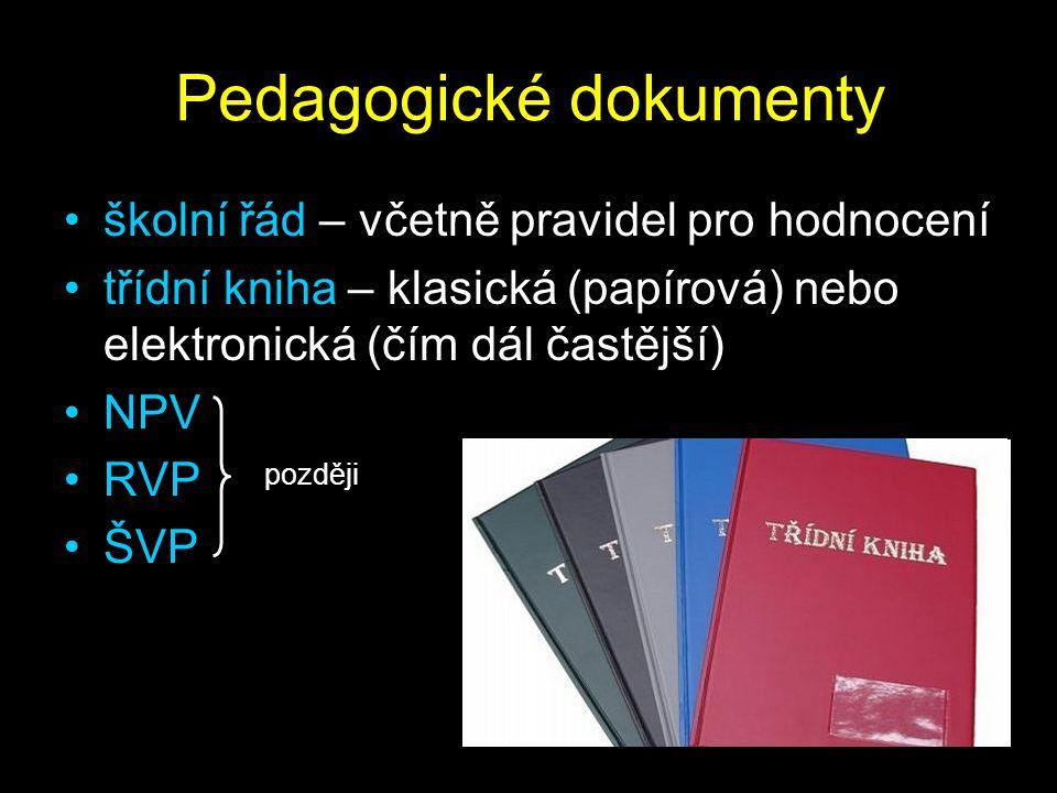 Pedagogické dokumenty školní řád – včetně pravidel pro hodnocení třídní kniha – klasická (papírová) nebo elektronická (čím dál častější) NPV RVP ŠVP později