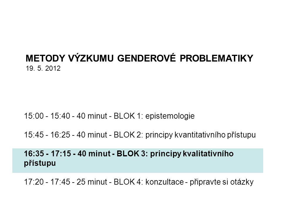 15:00 - 15:40 - 40 minut - BLOK 1: epistemologie 15:45 - 16:25 - 40 minut - BLOK 2: principy kvantitativního přístupu 16:35 - 17:15 - 40 minut - BLOK 3: principy kvalitativního přístupu 17:20 - 17:45 - 25 minut - BLOK 4: konzultace - připravte si otázky METODY VÝZKUMU GENDEROVÉ PROBLEMATIKY 19.