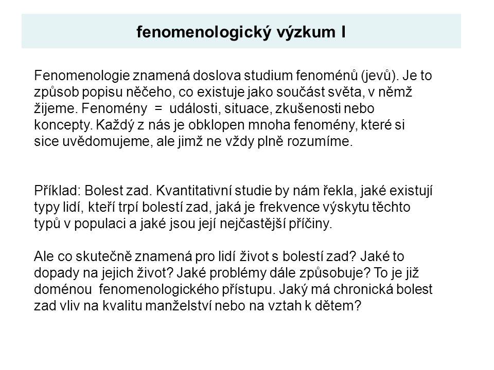 Fenomenologie znamená doslova studium fenoménů (jevů). Je to způsob popisu něčeho, co existuje jako součást světa, v němž žijeme. Fenomény = události,