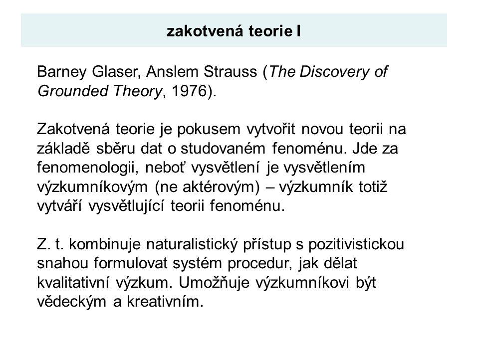 Barney Glaser, Anslem Strauss (The Discovery of Grounded Theory, 1976). Zakotvená teorie je pokusem vytvořit novou teorii na základě sběru dat o studo