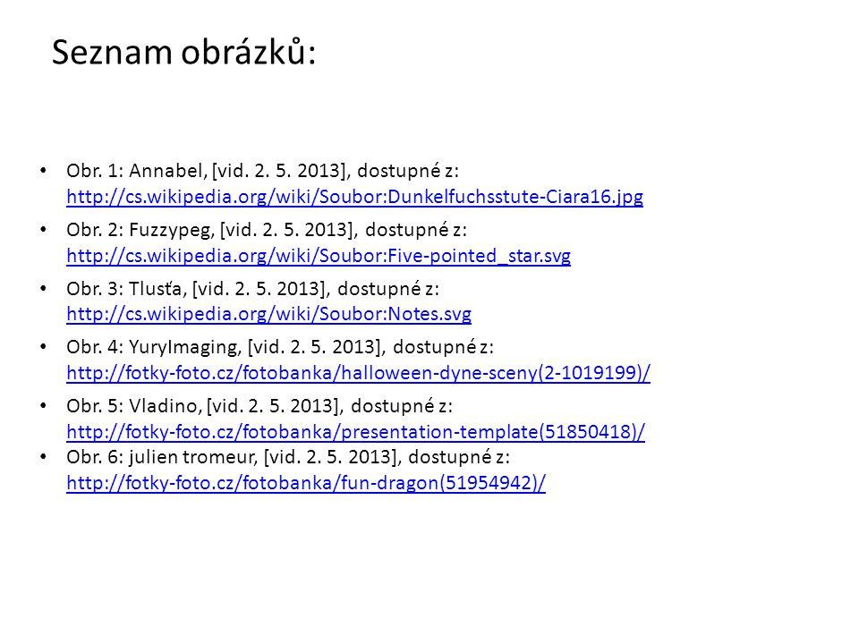 Seznam obrázků: Obr. 1: Annabel, [vid. 2. 5. 2013], dostupné z: http://cs.wikipedia.org/wiki/Soubor:Dunkelfuchsstute-Ciara16.jpg http://cs.wikipedia.o