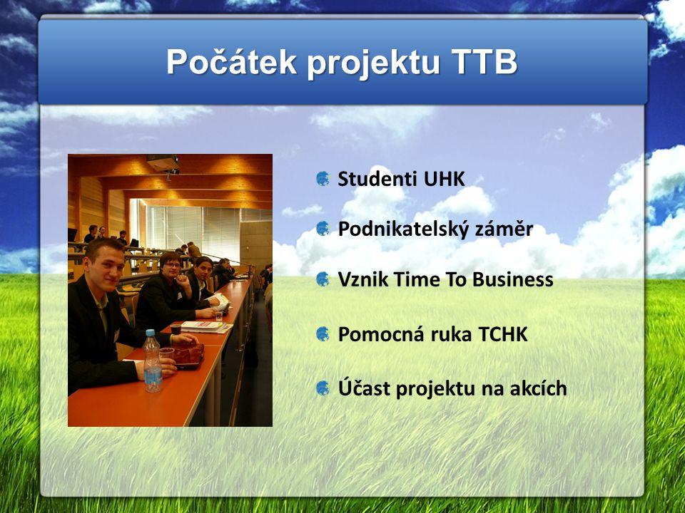 Počátek projektu TTB Studenti UHK Podnikatelský záměr Vznik Time To Business Pomocná ruka TCHK Účast projektu na akcích