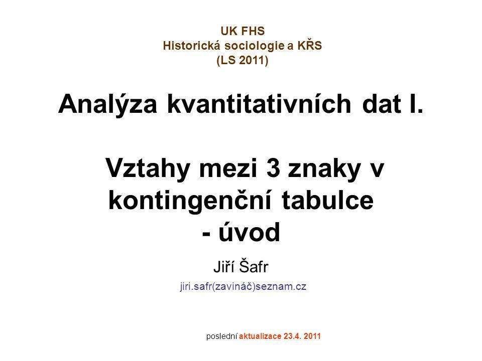 Analýza kvantitativních dat I.