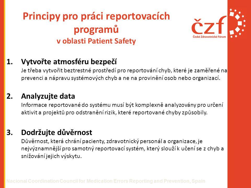 Principy pro práci reportovacích programů v oblasti Patient Safety 1.Vytvořte atmosféru bezpečí Je třeba vytvořit beztrestné prostředí pro reportování