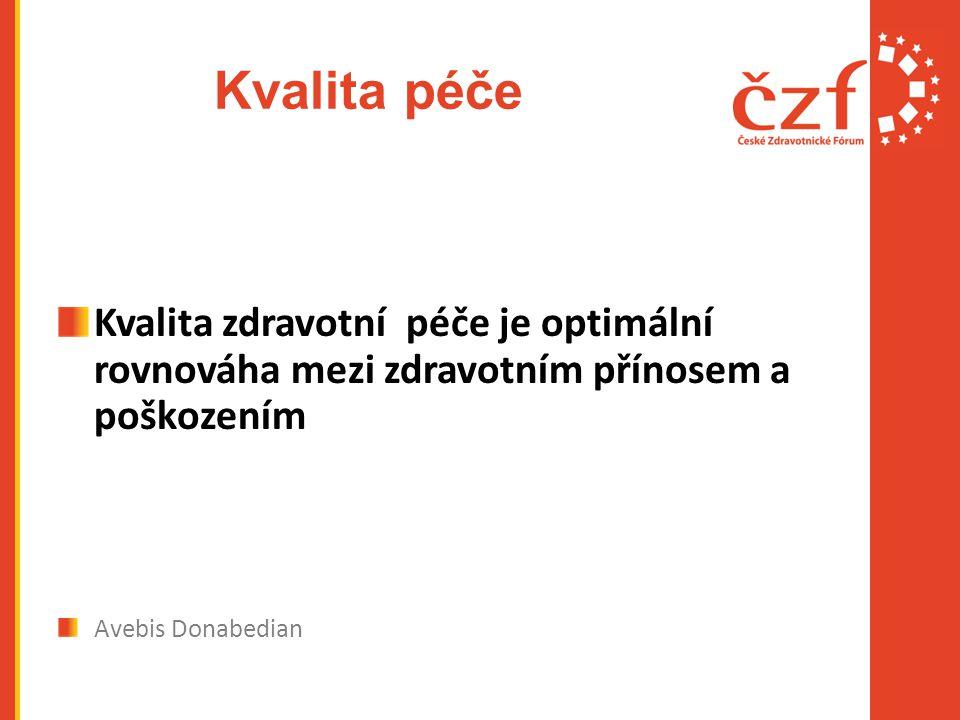Kvalita péče Kvalita zdravotní péče je optimální rovnováha mezi zdravotním přínosem a poškozením Avebis Donabedian