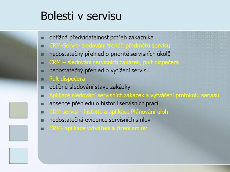 Bolesti v servisu obtížná předvídatelnost potřeb zákazníka CRM-Servis- sledování trendů předmětů servisu nedostatečný přehled o prioritě servisních úkolů CRM – sledování servisních zakázek, pult dispečera nedostatečný přehled o vytížení servisu Pult dispečera obtížné sledování stavu zakázky Aplikace sledování servisních zakázek a vytváření protokolu servisu absence přehledu o historii servisních prací CRM servis – historie a aplikace Plánování úloh nedostatečná evidence servisních smluv CRM- aplikace vytváření a řízení smluv