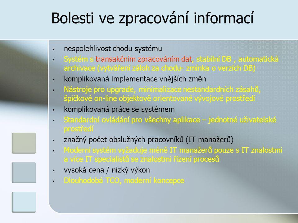 Bolesti ve zpracování informací nespolehlivost chodu systému Systém s transakčním zpracováním dat, stabilní DB, automatická archivace (vytváření záloh za chodu- zmínka o verzích DB) komplikovaná implementace vnějších změn Nástroje pro upgrade, minimalizace nestandardních zásahů, špičkové on-line objektově orientované vývojové prostředí komplikovaná práce se systémem Standardní ovládání pro všechny aplikace – jednotné uživatelské prostředí značný počet obslužných pracovníků (IT manažerů) Moderní systém vyžaduje méně IT manažerů pouze s IT znalostmi a více IT specialistů se znalostmi řízení procesů vysoká cena / nízký výkon Dlouhodobá TCO, moderní koncepce