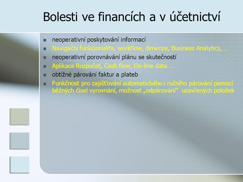 Bolesti ve financích a v účetnictví obtížné sledování salda Nástroje moderních ERP jako jsou např.