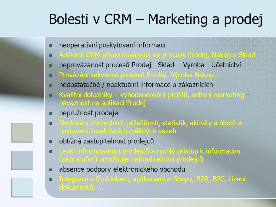 Bolesti v CRM – Marketing a prodej neoperativní poskytování informací Aplikace CRM přímo navázaná na procesy Prodej, Nákup a Sklad neprovázanost procesů Prodej - Sklad - Výroba - Účetnictví Provázání sekvence procesů Prodej- Výroba-Nákup nedostatečné / neaktuální informace o zákaznících Kvalitní dotazníky – vyhodnocování profilů, aktivní marketing – návaznost na aplikaci Prodej nepružnost prodeje Sledování obchodních příležitostí, statistik, aktivity a úkolů a nastavení korektivních zpětných vazeb obtížná zastupitelnost prodejců Lepší informovanost prodejců a rychlý přístup k informacím (záznamům) umožňuje nahraditelnost prodejců absence podpory elektronického obchodu Integrace s Outlookem, aplikacemi e-Shopu, B2B, B2C, řízení dokumentů, …