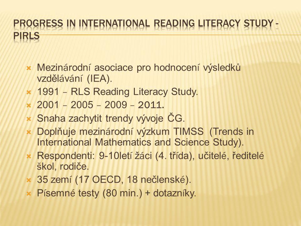  Mezin á rodn í asociace pro hodnocen í výsledků vzděl á v á n í (IEA).  1991 – RLS Reading Literacy Study.  2001 – 2005 – 2009 – 2011.  Snaha zac