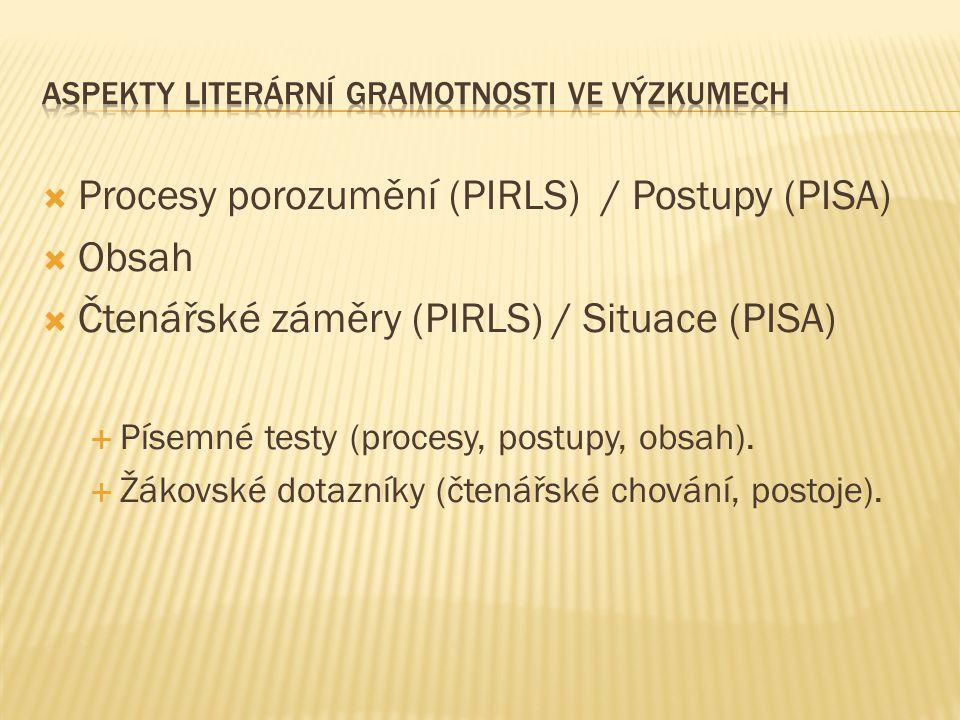  Procesy porozumění (PIRLS) / Postupy (PISA)  Obsah  Čtenářské záměry (PIRLS) / Situace (PISA)  Písemné testy (procesy, postupy, obsah).  Žákovsk