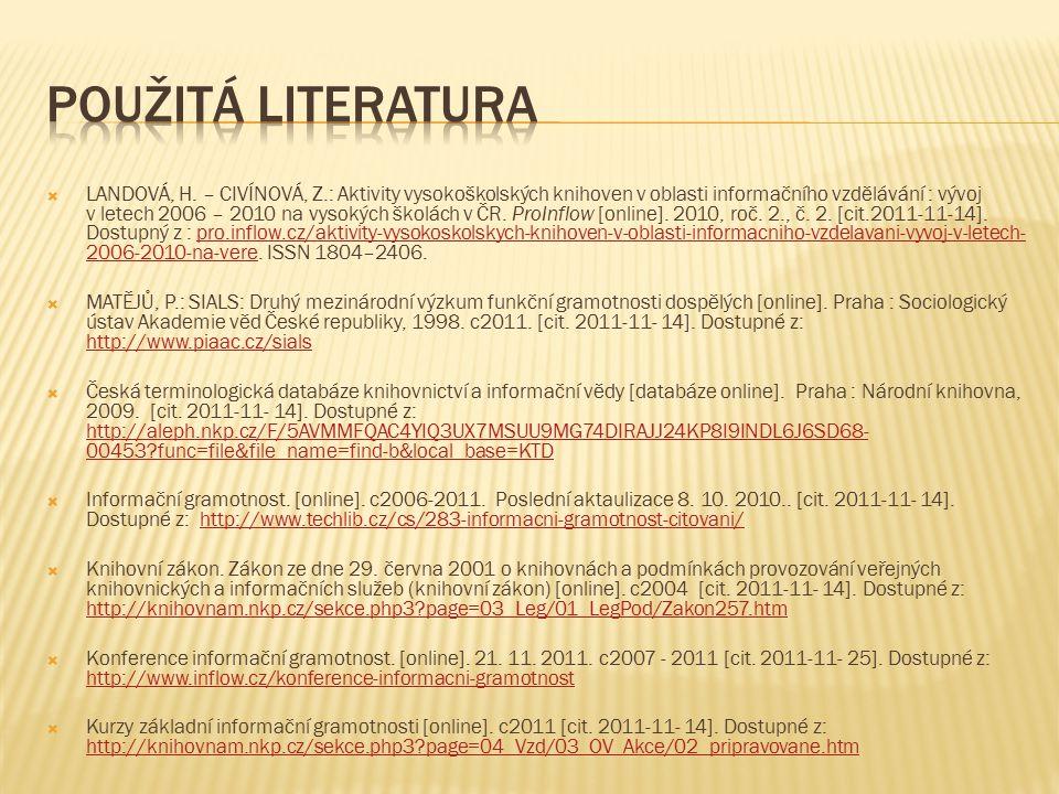  LANDOVÁ, H. – CIVÍNOVÁ, Z.: Aktivity vysokoškolských knihoven v oblasti informačního vzdělávání : vývoj v letech 2006 – 2010 na vysokých školách v Č