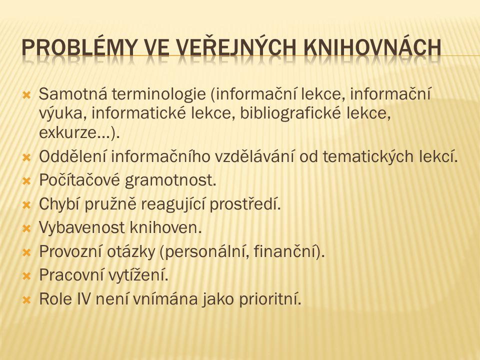  Samotná terminologie (informační lekce, informační výuka, informatické lekce, bibliografické lekce, exkurze…).  Oddělení informačního vzdělávání od