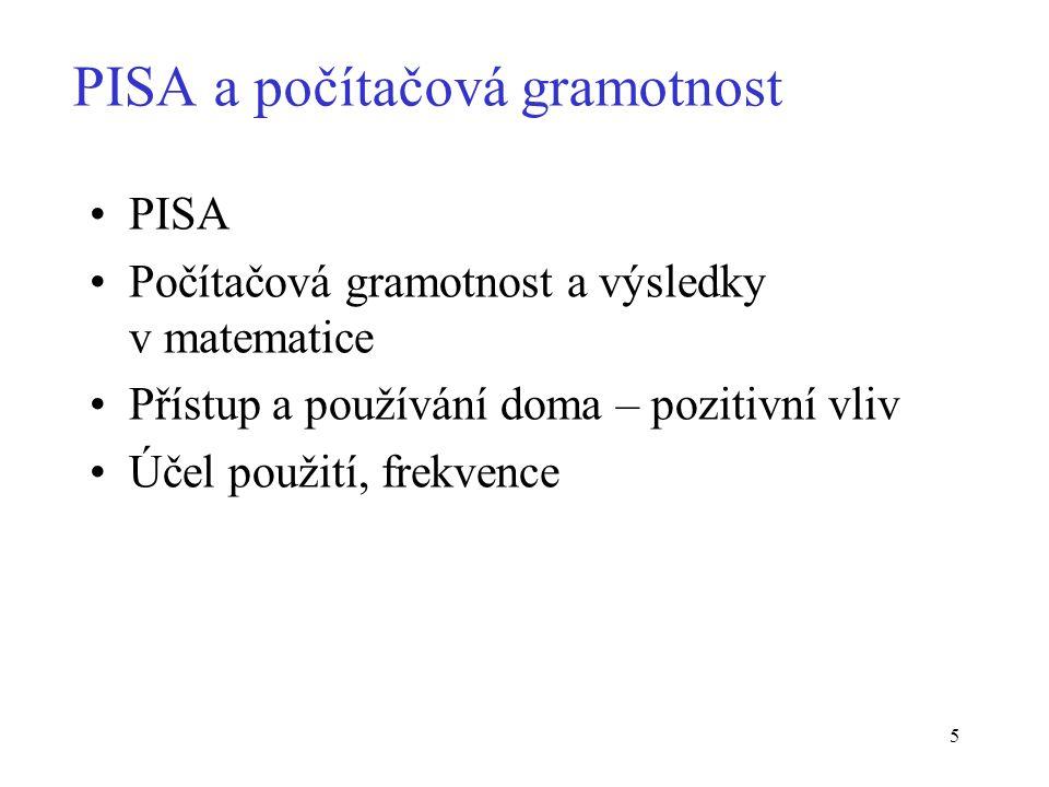 5 PISA a počítačová gramotnost PISA Počítačová gramotnost a výsledky v matematice Přístup a používání doma – pozitivní vliv Účel použití, frekvence