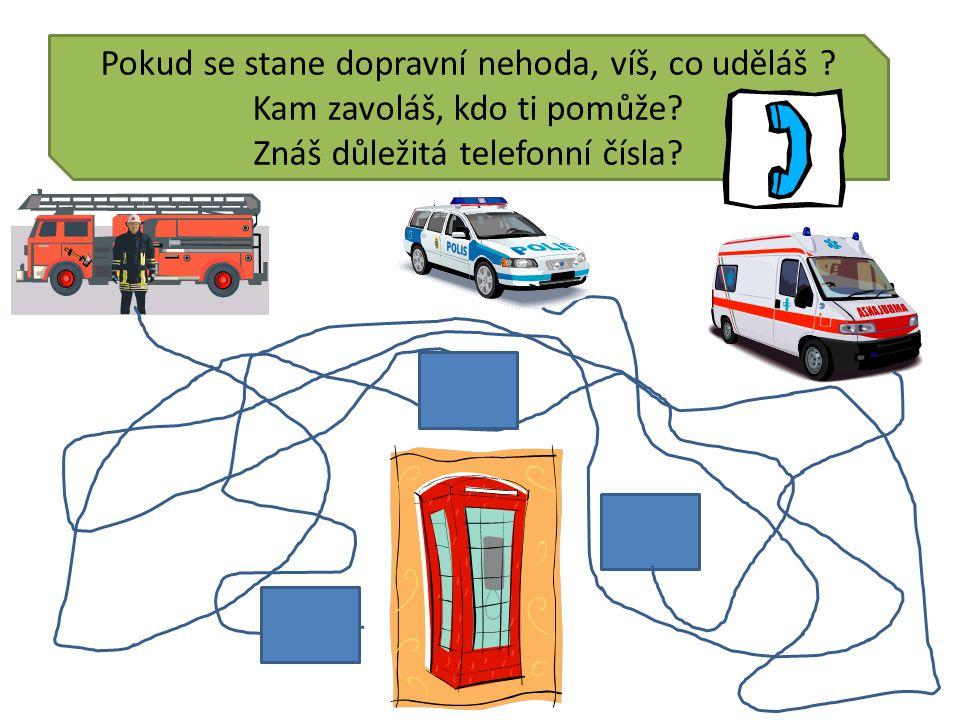 Pokud se stane dopravní nehoda, víš, co uděláš . Kam zavoláš, kdo ti pomůže.