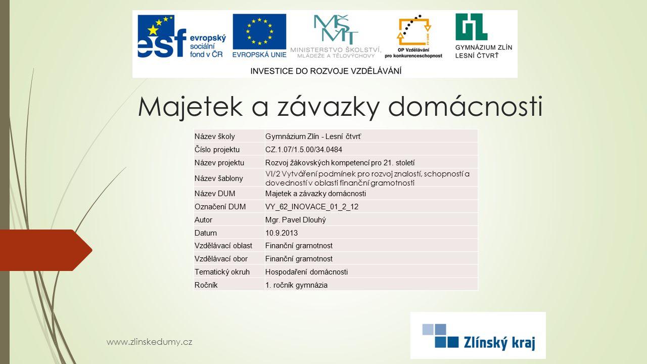 Majetek a závazky domácnosti www.zlinskedumy.cz Název školyGymnázium Zlín - Lesní čtvrť Číslo projektuCZ.1.07/1.5.00/34.0484 Název projektuRozvoj žáko
