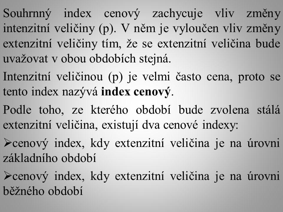 Souhrnný index cenový, kdy extenzitní veličina je na úrovni běžného období, se vypočítá: