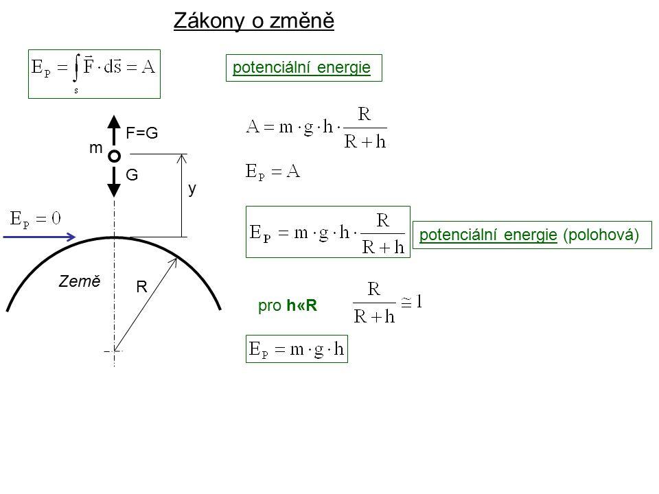 Dynamika I, 2. přednáška Země R y potenciální energie Zákony o změně pro h«R potenciální energie (polohová) G F=G m