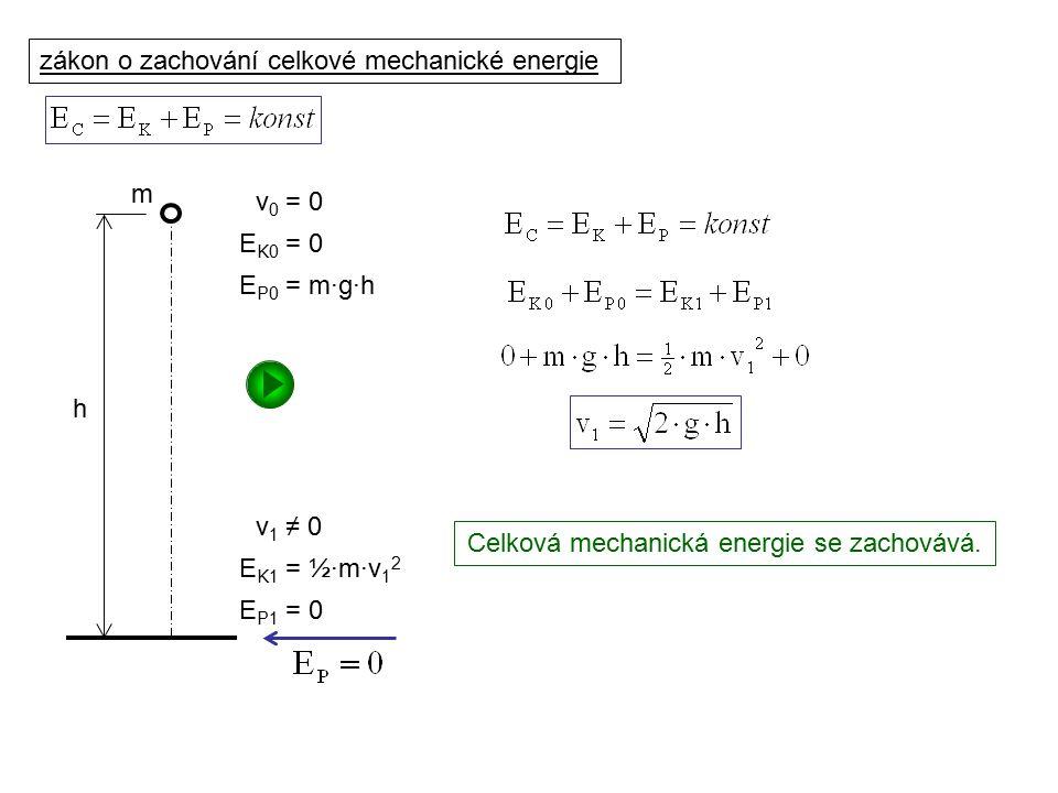 Dynamika I, 2. přednáška zákon o zachování celkové mechanické energie m h v 0 = 0 E K0 = 0 E P0 = m·g·h E P1 = 0 E K1 = ½·m·v 1 2 v 1 ≠ 0 Celková mech