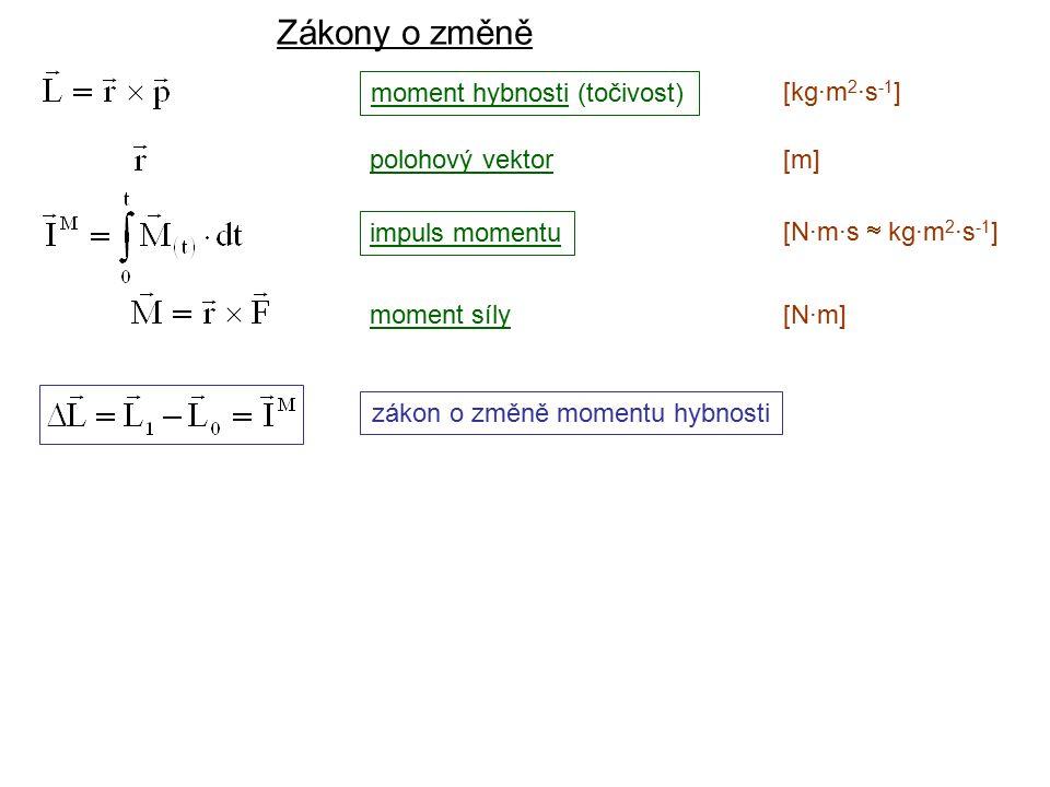 Dynamika I, 2. přednáška moment hybnosti (točivost) [kg·m 2 ·s -1 ] impuls momentu [N·m·s  kg·m 2 ·s -1 ] moment síly[N·m][N·m] zákon o změně momentu