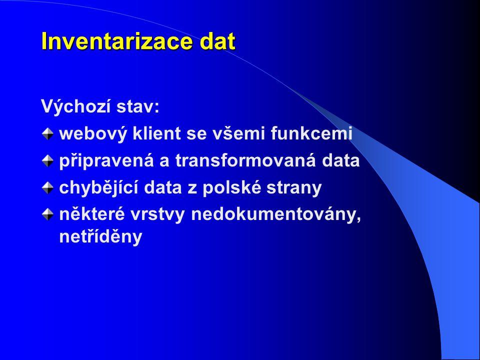 Inventarizace dat Výchozí stav: webový klient se všemi funkcemi připravená a transformovaná data chybějící data z polské strany některé vrstvy nedokum