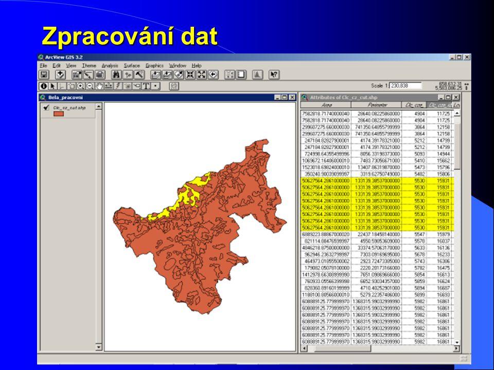 Zpracování dat Úprava Doplnění Vyřazení celkem 73 vrstev rozdělených do 9 témat dohledání popisu atributů – 15 vrstev vložení identifikátorů- 16 vrste