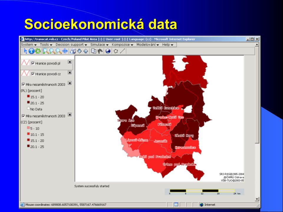 Socioekonomická data Cílem nebylo zhodnotit socioekonomickou situaci a vývoj území, ale jen ukázat možnosti prototypu. PROBLÉMY: obtížně srovnatelná ú