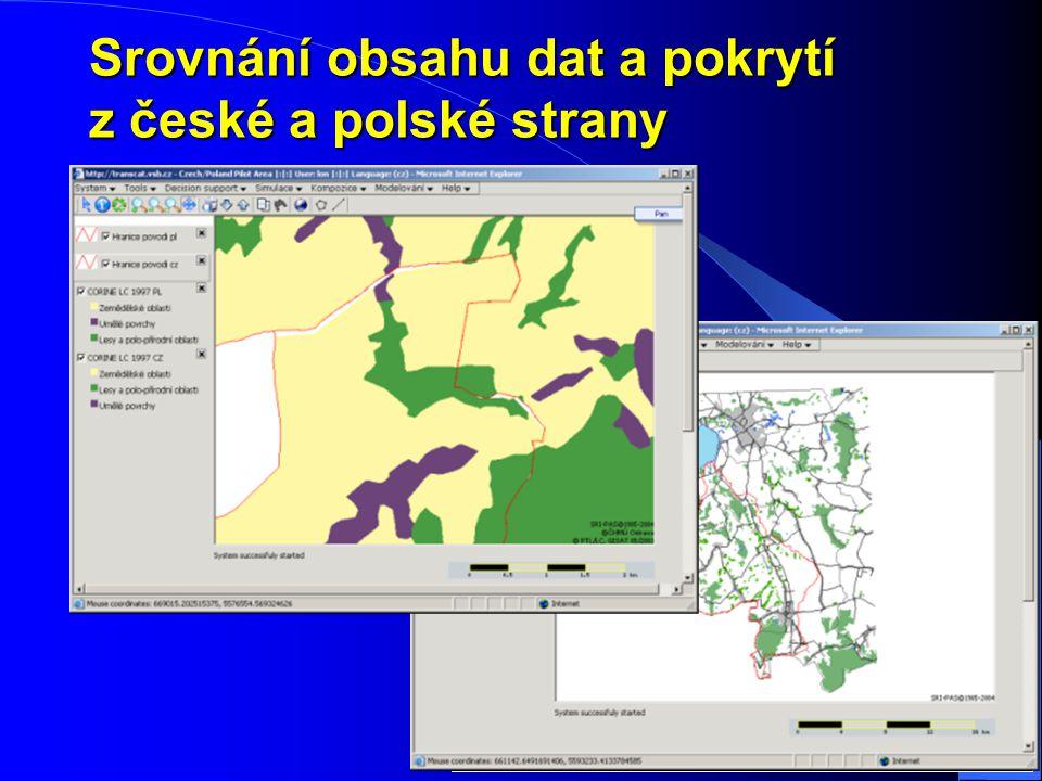 Srovnání obsahu dat a pokrytí z české a polské strany CZ – 101 vrstev / 11 témat PL – 30 vrstev / 7 témat přetahy a nedotahy v oblasti hranic nedostat