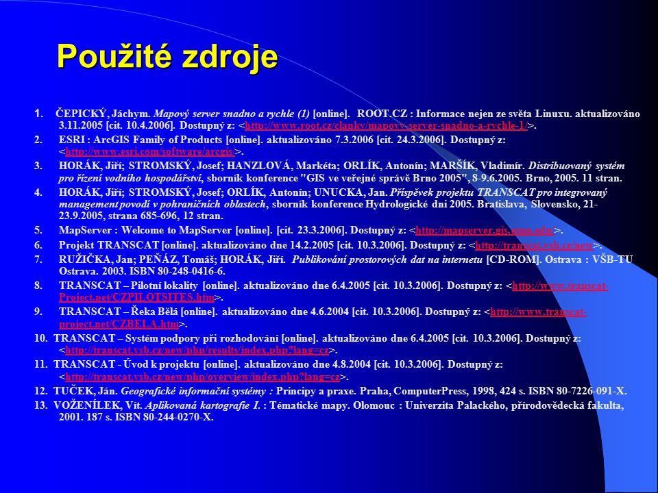 Použité zdroje 1. ČEPICKÝ, Jáchym. Mapový server snadno a rychle (1) [online]. ROOT.CZ : Informace nejen ze světa Linuxu. aktualizováno 3.11.2005 [cit