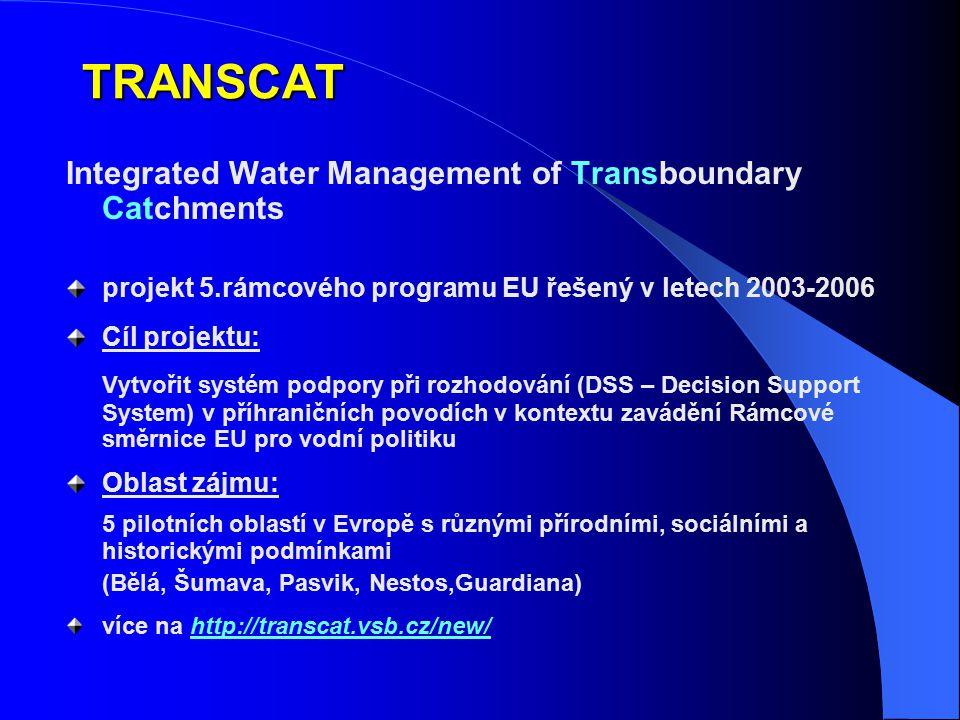 TRANSCAT Integrated Water Management of Transboundary Catchments projekt 5.rámcového programu EU řešený v letech 2003-2006 Cíl projektu: Vytvořit syst