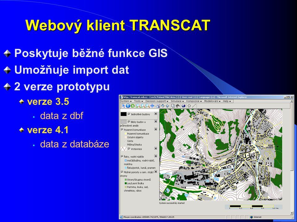 Webový klient TRANSCAT Poskytuje běžné funkce GIS Umožňuje import dat 2 verze prototypu verze 3.5 data z dbf verze 4.1 data z databáze