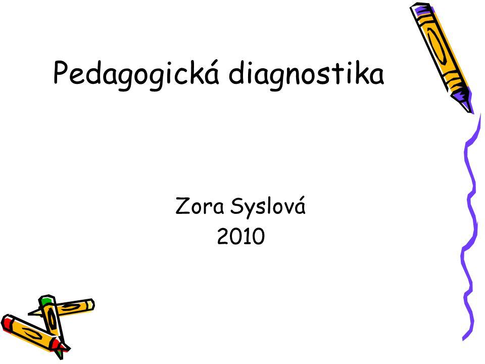 Pedagogická diagnostika Zora Syslová 2010
