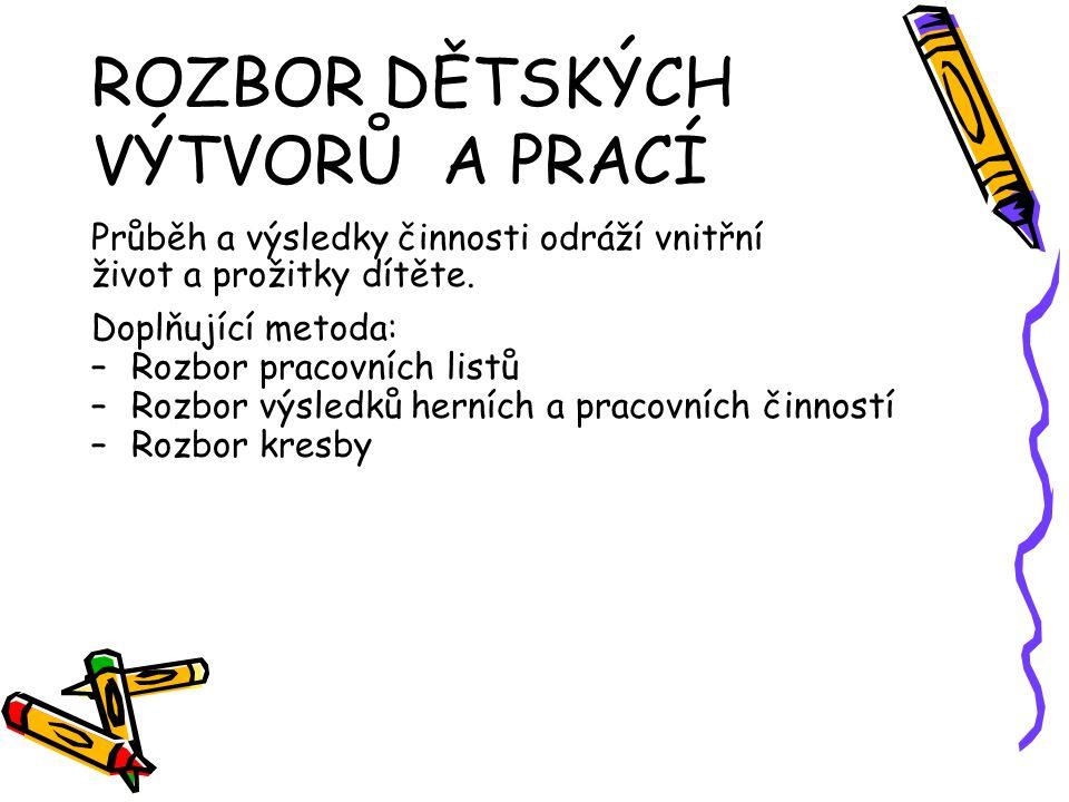 ROZBOR DĚTSKÝCH VÝTVORŮ A PRACÍ Průběh a výsledky činnosti odráží vnitřní život a prožitky dítěte. Doplňující metoda: –Rozbor pracovních listů –Rozbor
