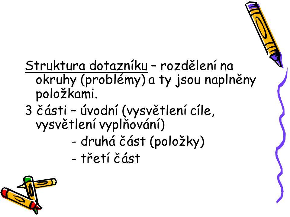 Struktura dotazníku – rozdělení na okruhy (problémy) a ty jsou naplněny položkami. 3 části – úvodní (vysvětlení cíle, vysvětlení vyplňování) - druhá č