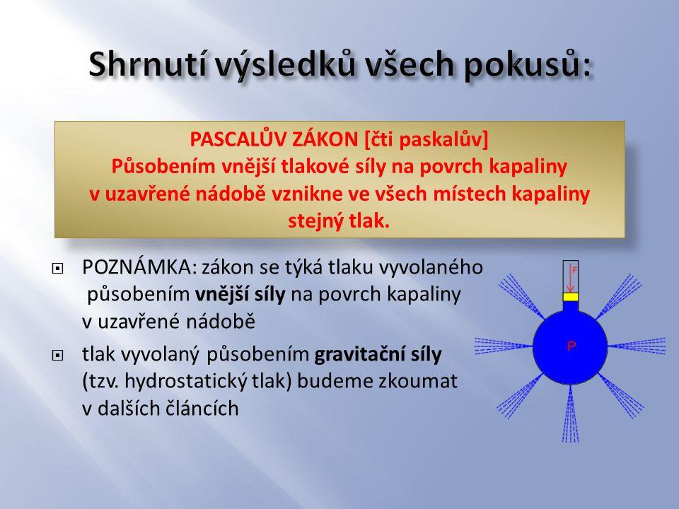  POZNÁMKA: zákon se týká tlaku vyvolaného působením vnější síly na povrch kapaliny v uzavřené nádobě  tlak vyvolaný působením gravitační síly (tzv.