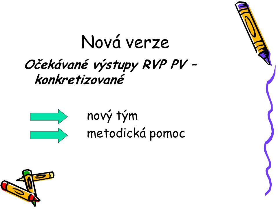 Nová verze Očekávané výstupy RVP PV – konkretizované nový tým metodická pomoc