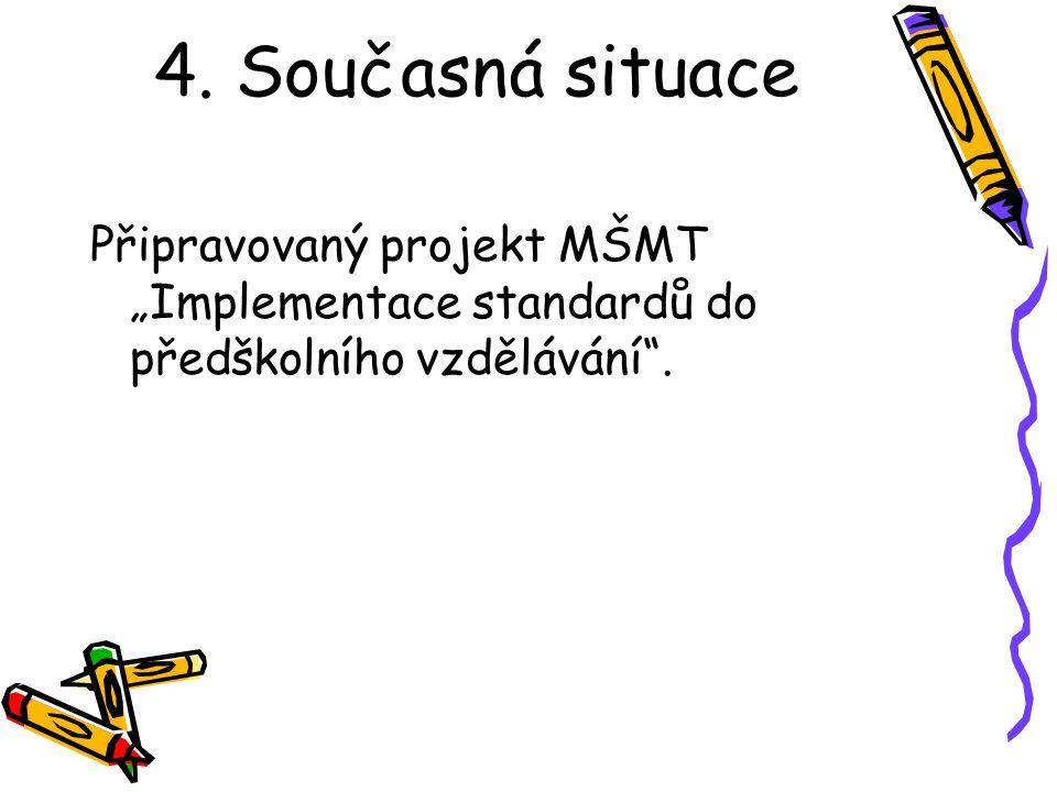 """4. Současná situace Připravovaný projekt MŠMT """"Implementace standardů do předškolního vzdělávání""""."""