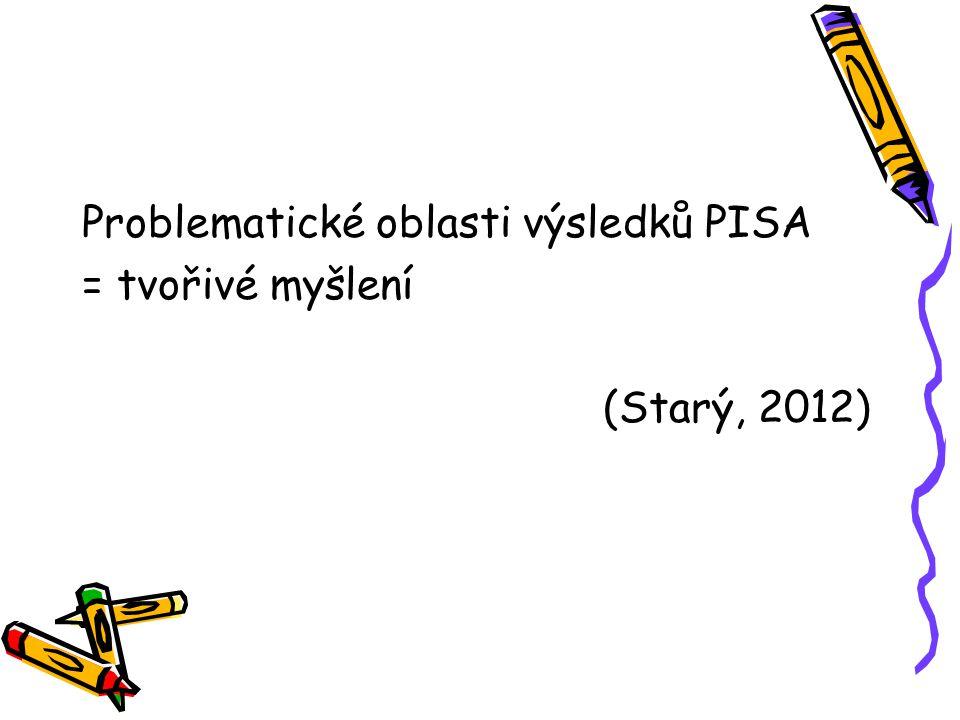 Problematické oblasti výsledků PISA = tvořivé myšlení (Starý, 2012)