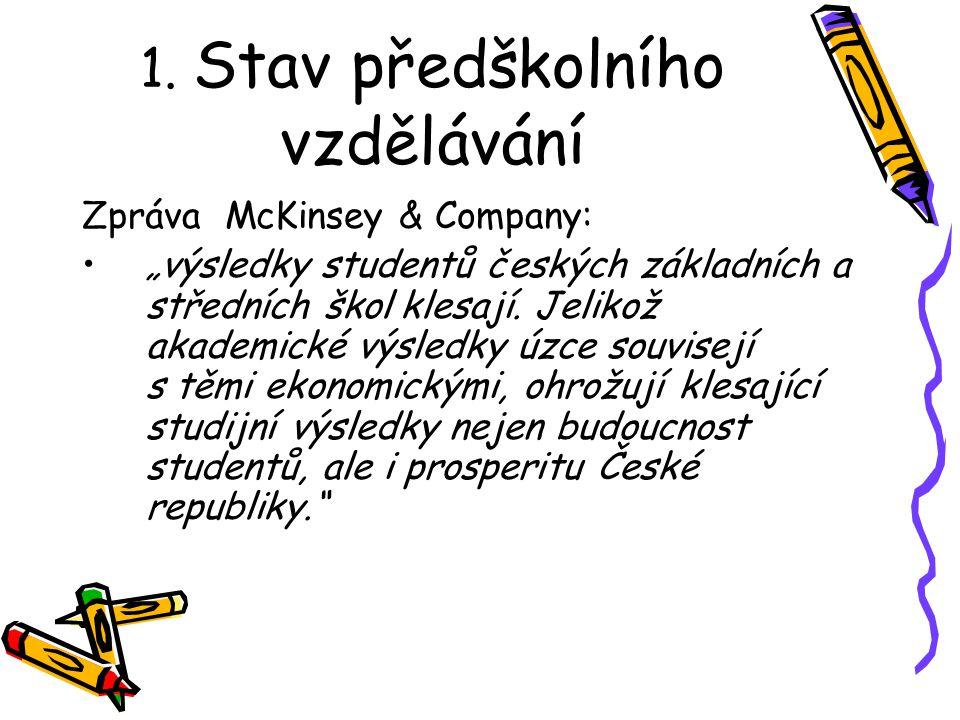 """1. Stav předškolního vzdělávání Zpráva McKinsey & Company: """"výsledky studentů českých základních a středních škol klesají. Jelikož akademické výsledky"""