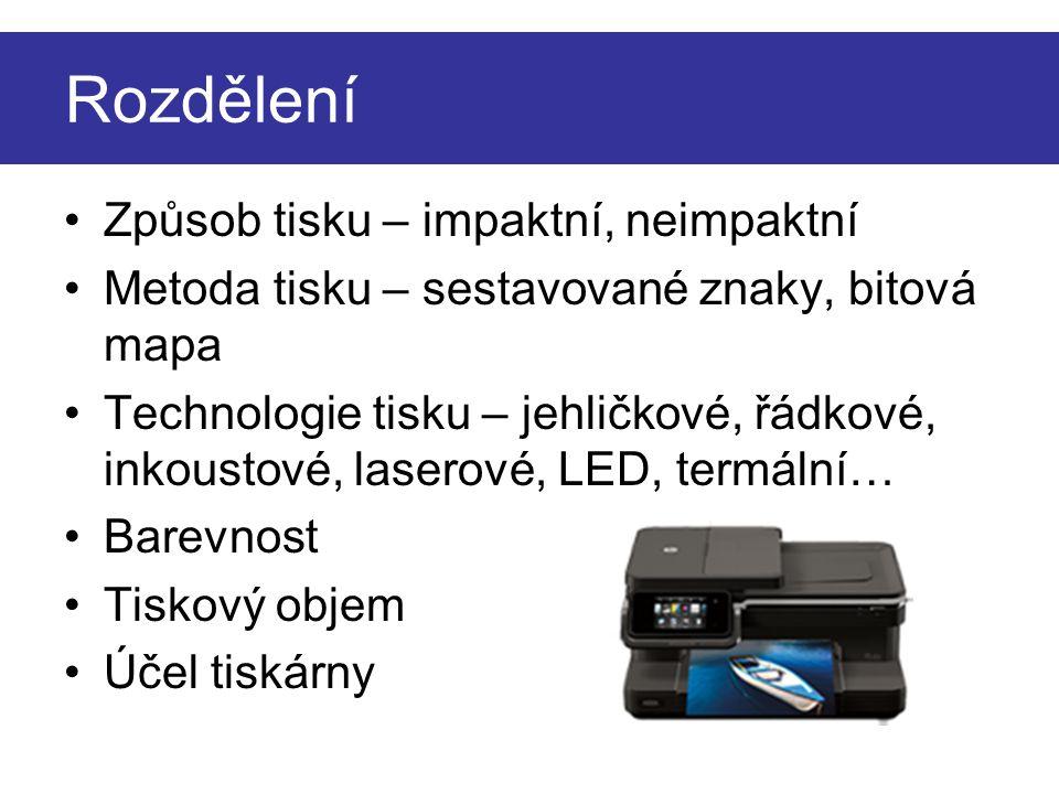Metoda sestavovaných znaků Tisk v matici 7 × 9 bodů Výrazný bodový charakter písma Impaktní tiskárny DRAFT SLOUPCE ŘÁDKY